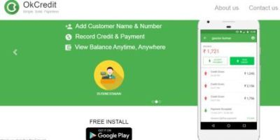 FinTech startup okcredit mobile app view