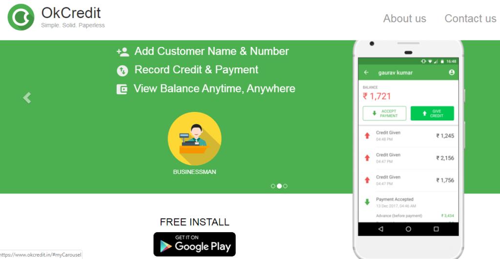 FinTech startup okcredit, App view