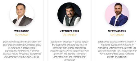 Founders of Parkr, Wali Kashvi, Devendra Rara and Nirav Ganatra