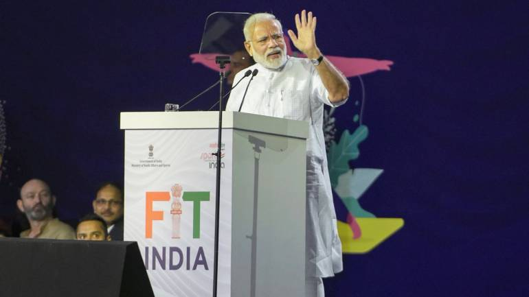 Prime Minister of India Narendra Modi launching Fit India on national sports day.