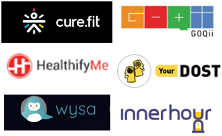 Indian healthtech startups in focus, Curefit, GoQii, HealthifyMe, InnerHour, YourDost and Wysa.