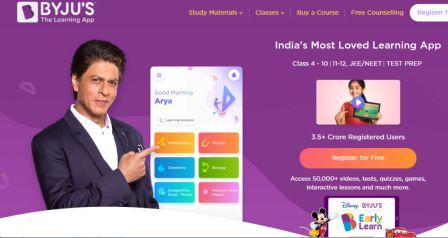 Byju's Edtech startup -provides learning materials.