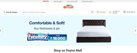Paytm Mall  website page image
