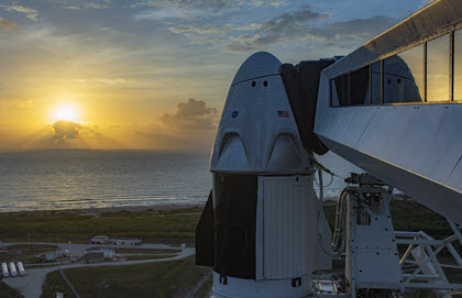 SpaceX's Falcon 9 rocket waits on the launchpad of Kennedy Space Center